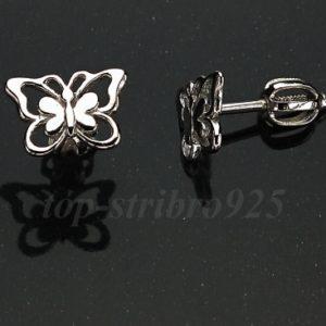 Náušnice rhodiované motýlek