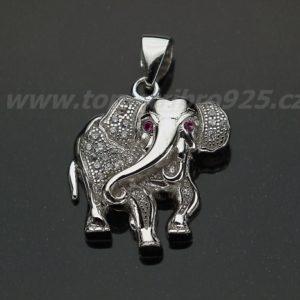 Přívěs slon rhodiovaný