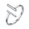 Stříbrný prsten tyčky se zirkony